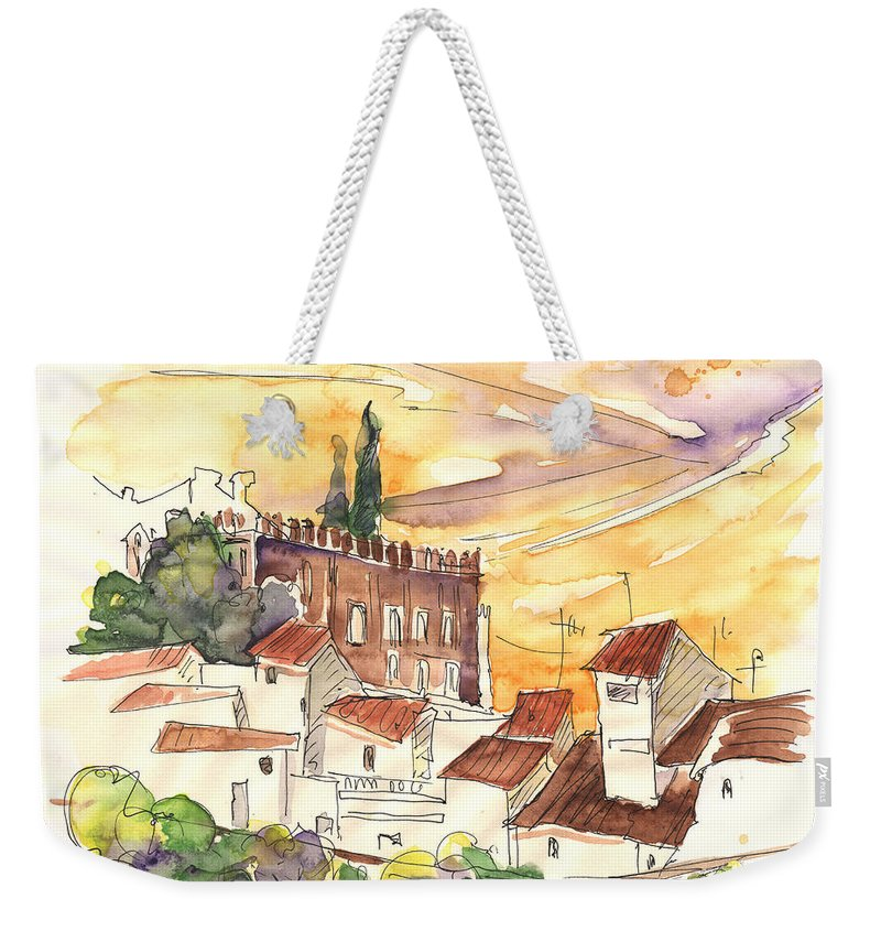 Water Colour Weekender Tote Bag featuring the painting Serpa Portugal 27 by Miki De Goodaboom