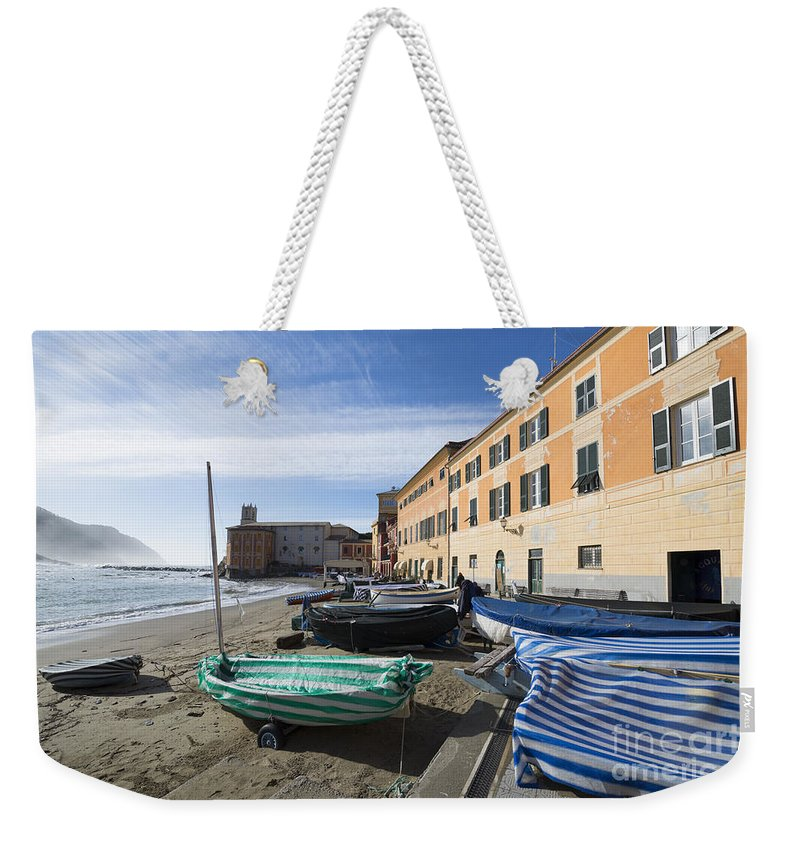 Village Weekender Tote Bag featuring the photograph Sestri Levante And Boats by Mats Silvan