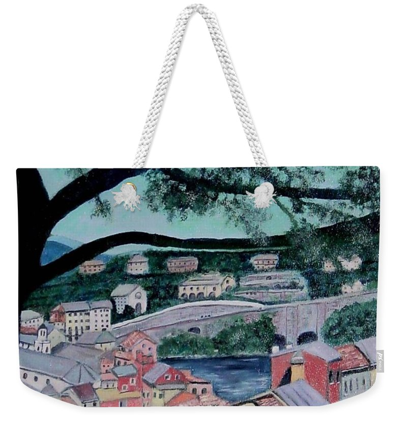 Italy Weekender Tote Bag featuring the painting Sestri Levante by Laurie Morgan