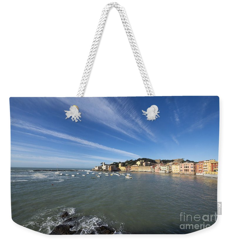 Village Weekender Tote Bag featuring the photograph Sestri Levante With Blue Sky And Clouds by Mats Silvan
