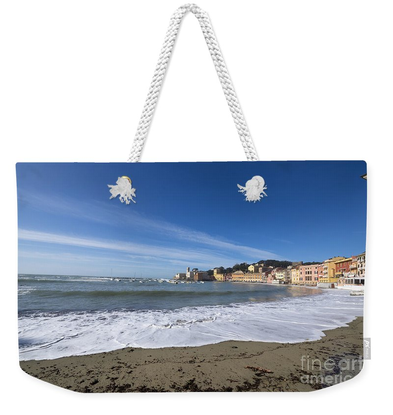 Village Weekender Tote Bag featuring the photograph Sestri Levante With Waves by Mats Silvan