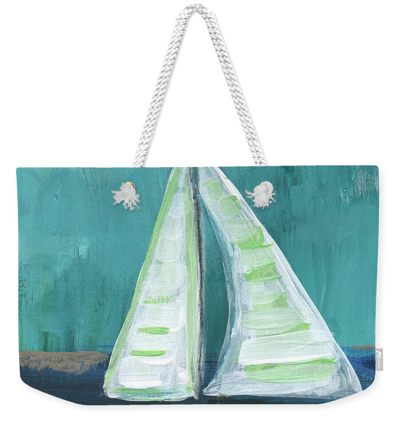 Boat Weekender Tote Bag featuring the painting Set Free- Sailboat Painting by Linda Woods