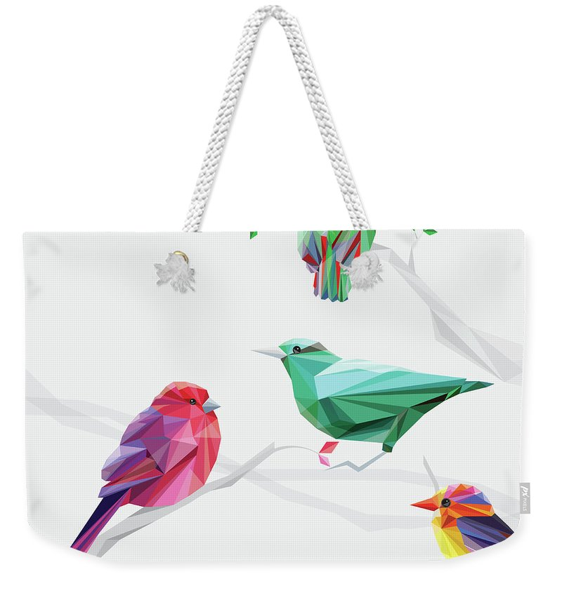 Funky Weekender Tote Bag featuring the digital art Set Of Abstract Geometric Colorful Birds by Pika111