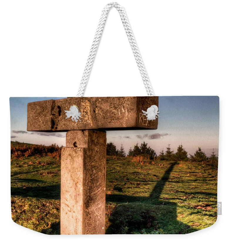 Cross Weekender Tote Bag featuring the photograph Setting Sun On A Cross By The Trenches by Weston Westmoreland