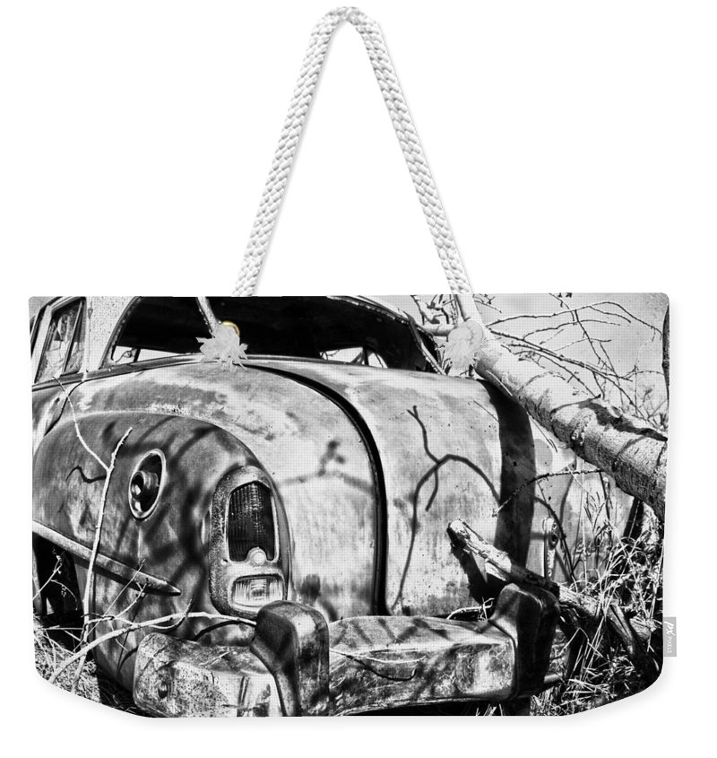 Old Car Weekender Tote Bag featuring the photograph Settled Ride by The Artist Project