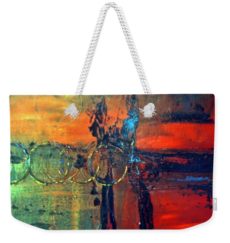 Abstract Weekender Tote Bag featuring the painting Seven Rings by Sheila Neeley