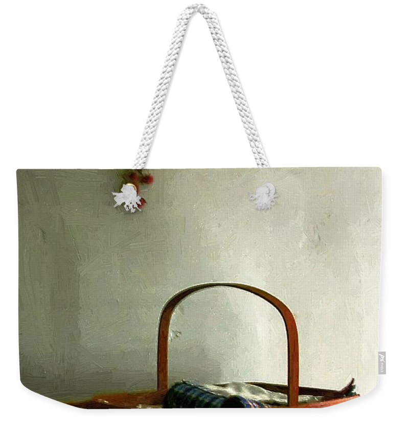 Americana Weekender Tote Bag featuring the painting Sewing Basket In Sunlight by RC DeWinter