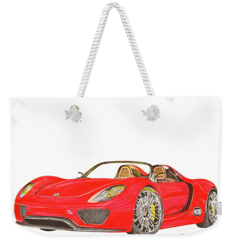 Some Like The Car Without A Background Weekender Tote Bag featuring the painting Sexy Spyder Porsche 918 by Jack Pumphrey