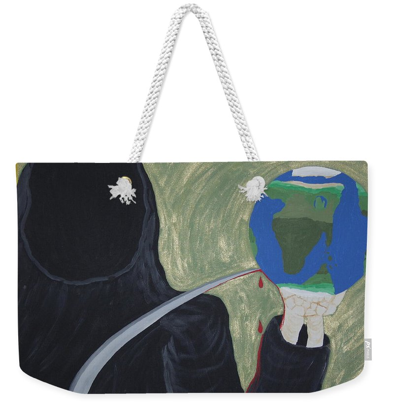 Painting Weekender Tote Bag featuring the painting Shadow Of Fear by Dean Stephens