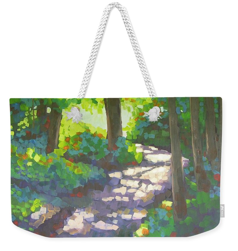 Landscape Weekender Tote Bag featuring the painting Shadowed Path by Mary McInnis