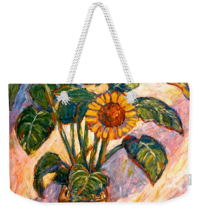 Floral Weekender Tote Bag featuring the painting Shadows On Sunflowers by Kendall Kessler