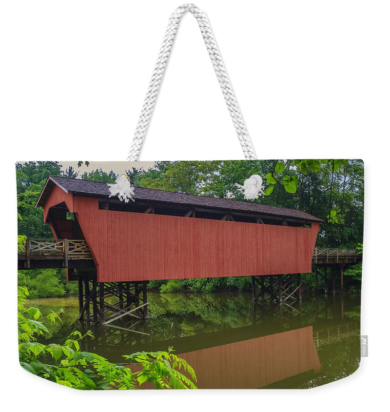 Ohio Weekender Tote Bag featuring the photograph Shaeffer Or Campbell Covered Bridge by Jack R Perry