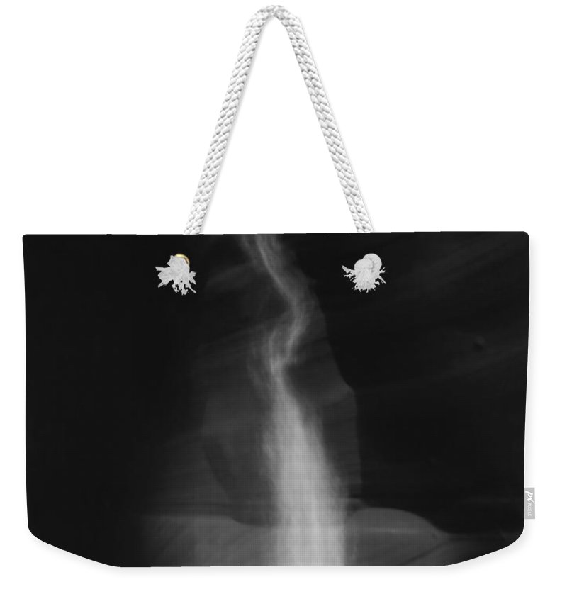 Page Az Weekender Tote Bag featuring the photograph Shaft Of Light Bw by Heather Kirk