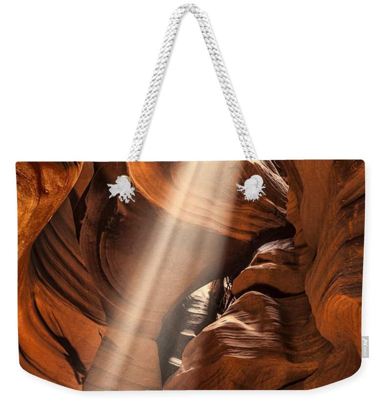 Antelope Canyon Weekender Tote Bag featuring the photograph Shaft Of Light by Diana Powell