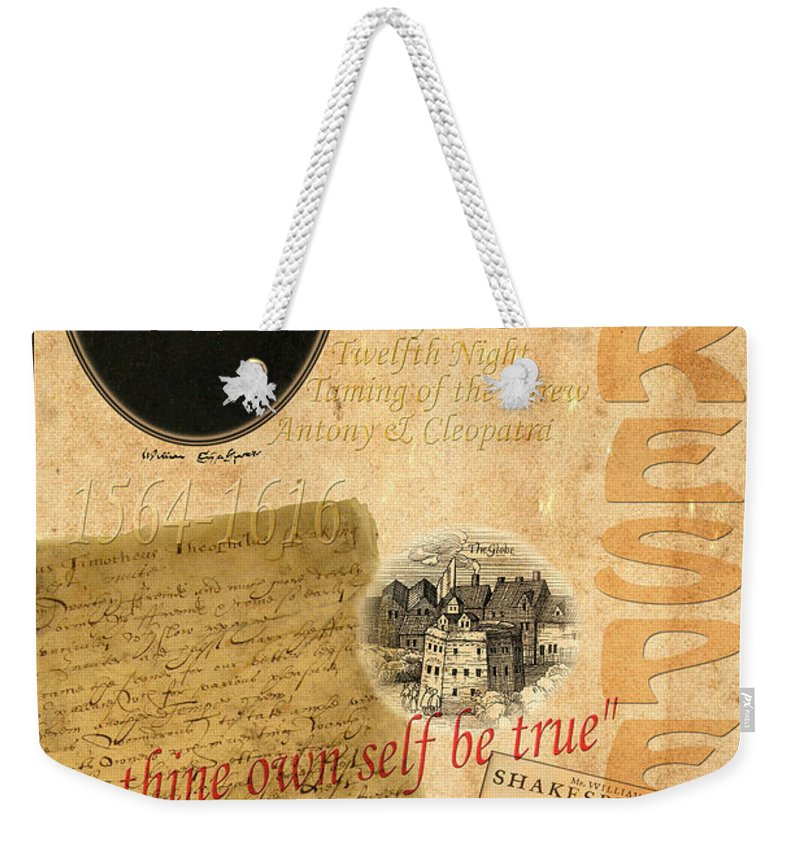 Shakespeare Weekender Tote Bag featuring the photograph Shakespeare 2 by Andrew Fare