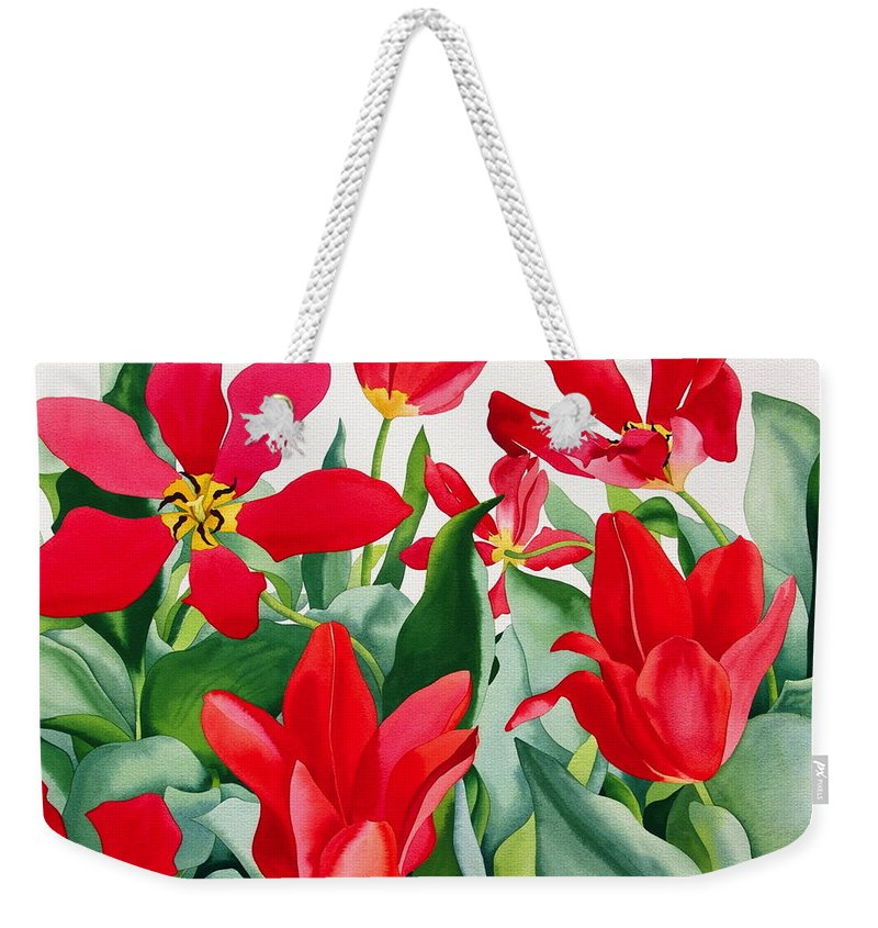 Shakespeare Tulips Weekender Tote Bag featuring the painting Shakespeare Tulips by Christopher Ryland