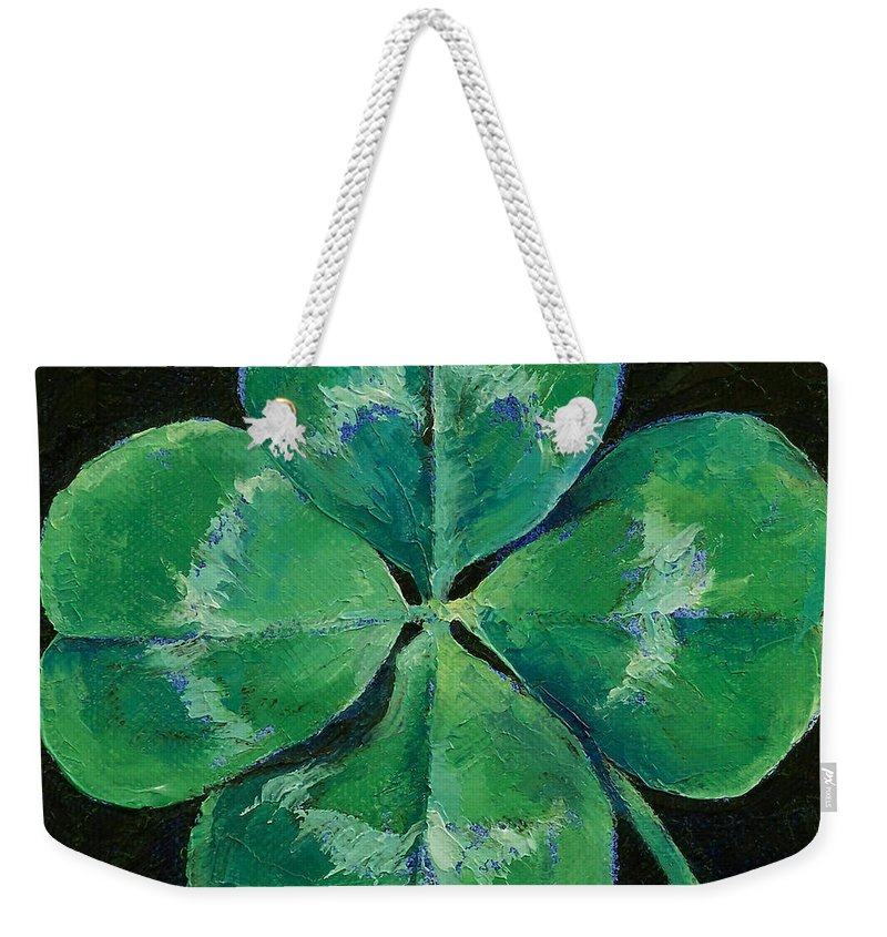 Shamrock Weekender Tote Bag featuring the painting Shamrock by Michael Creese