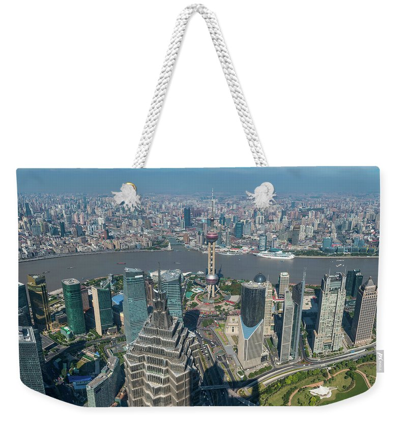 Chinese Culture Weekender Tote Bag featuring the photograph Shanghai Aerial View Over Pundong by Fotovoyager
