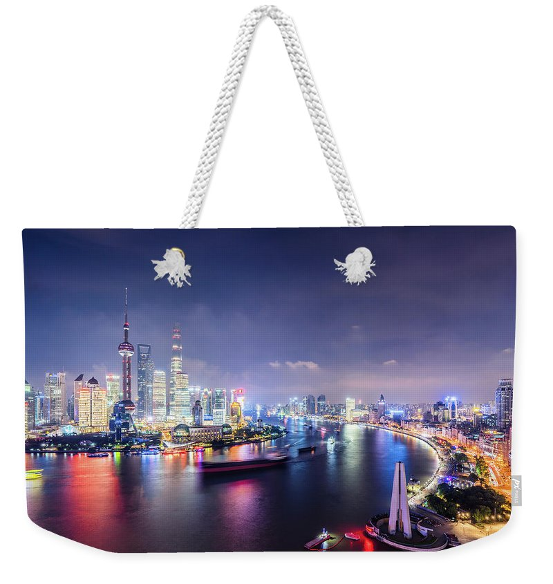 Downtown District Weekender Tote Bag featuring the photograph Shanghai Skyline At Night by Yongyuan Dai