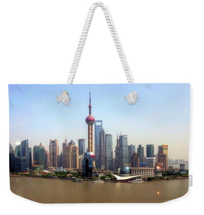 Outdoors Weekender Tote Bag featuring the photograph Shanghai Skyline by Mariusz Kluzniak