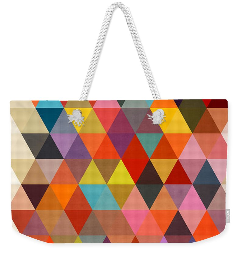 Contemporary Weekender Tote Bag featuring the painting Shapes by Mark Ashkenazi