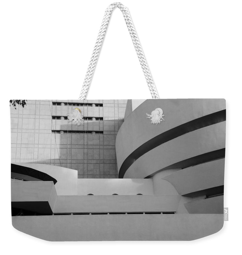Scenic Weekender Tote Bag featuring the photograph Shapes Of The Guggenheim In Black And White by Rob Hans