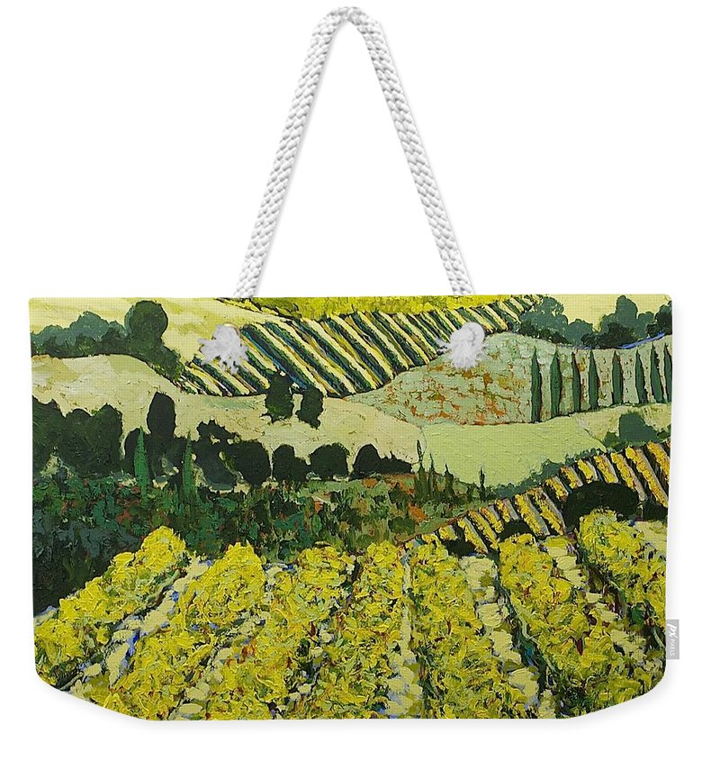 Landscape Weekender Tote Bag featuring the painting Sharing The Discovery by Allan P Friedlander