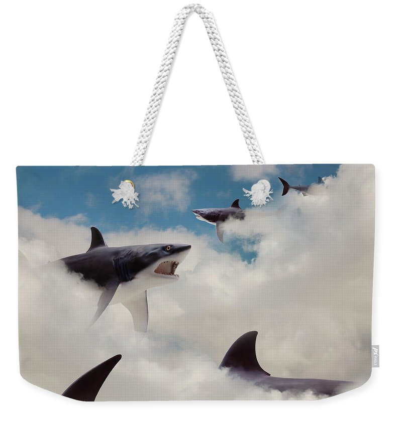 Risk Weekender Tote Bag featuring the photograph Sharks Floating In Clouds by John M Lund Photography Inc