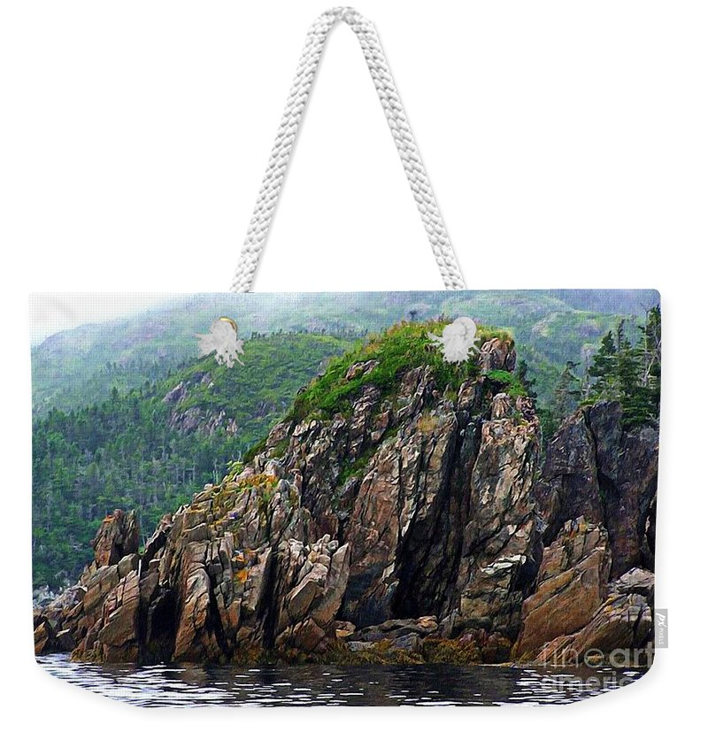 Sharp Rocks Weekender Tote Bag featuring the photograph Sharp Jagged Rocks by Barbara Griffin