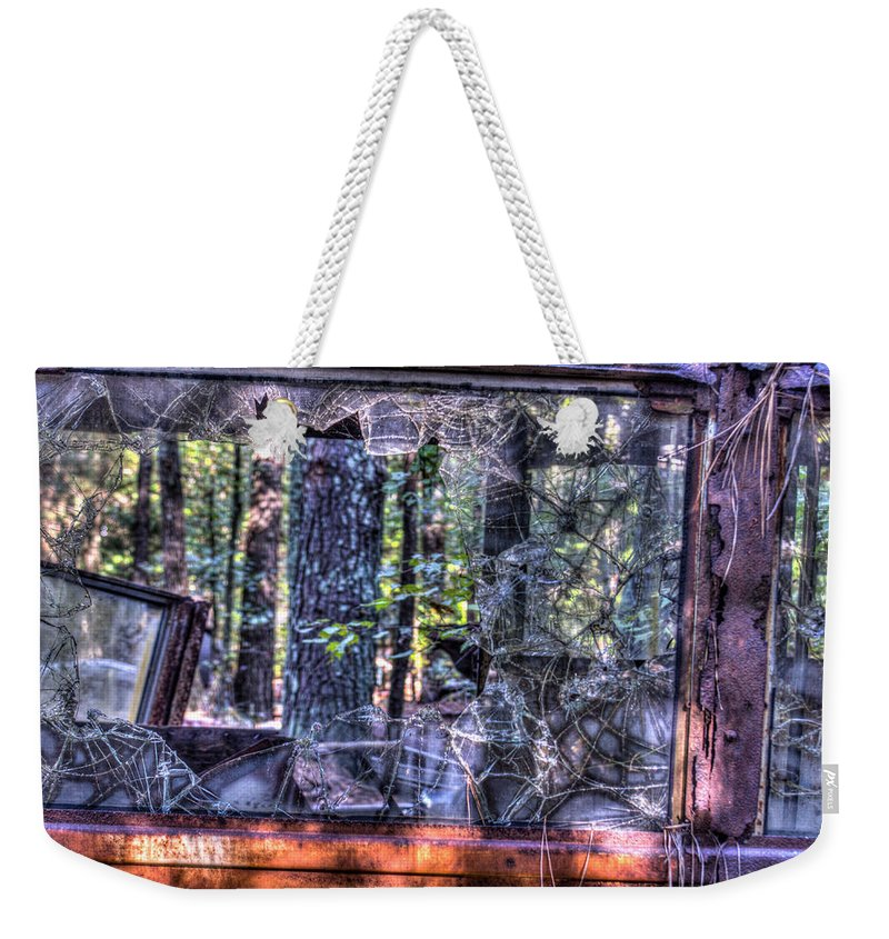 Window Weekender Tote Bag featuring the photograph Shattere Side School Bus Window by Douglas Barnett