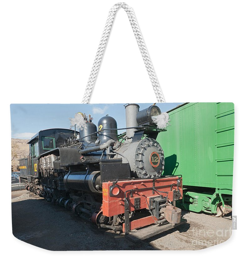 Colorado Weekender Tote Bag featuring the photograph Shay Engine 12 In The Colorado Railroad Museum by Fred Stearns