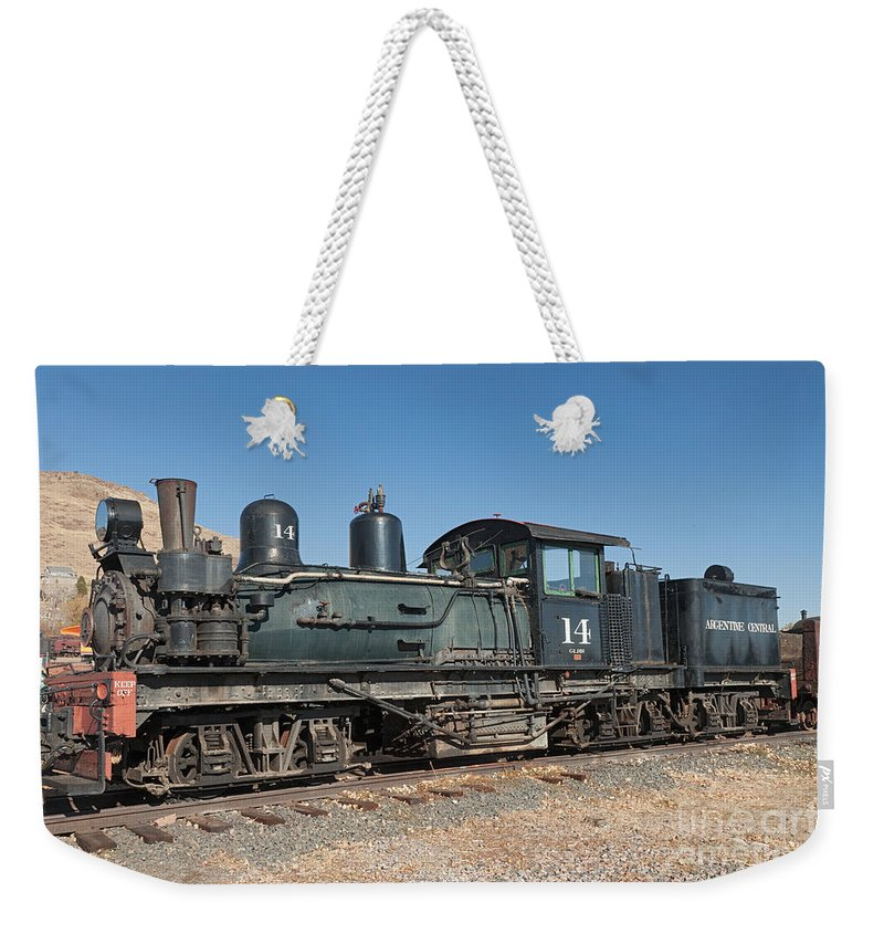 Colorado Weekender Tote Bag featuring the photograph Shay Engine 14 In The Colorado Railroad Museum by Fred Stearns