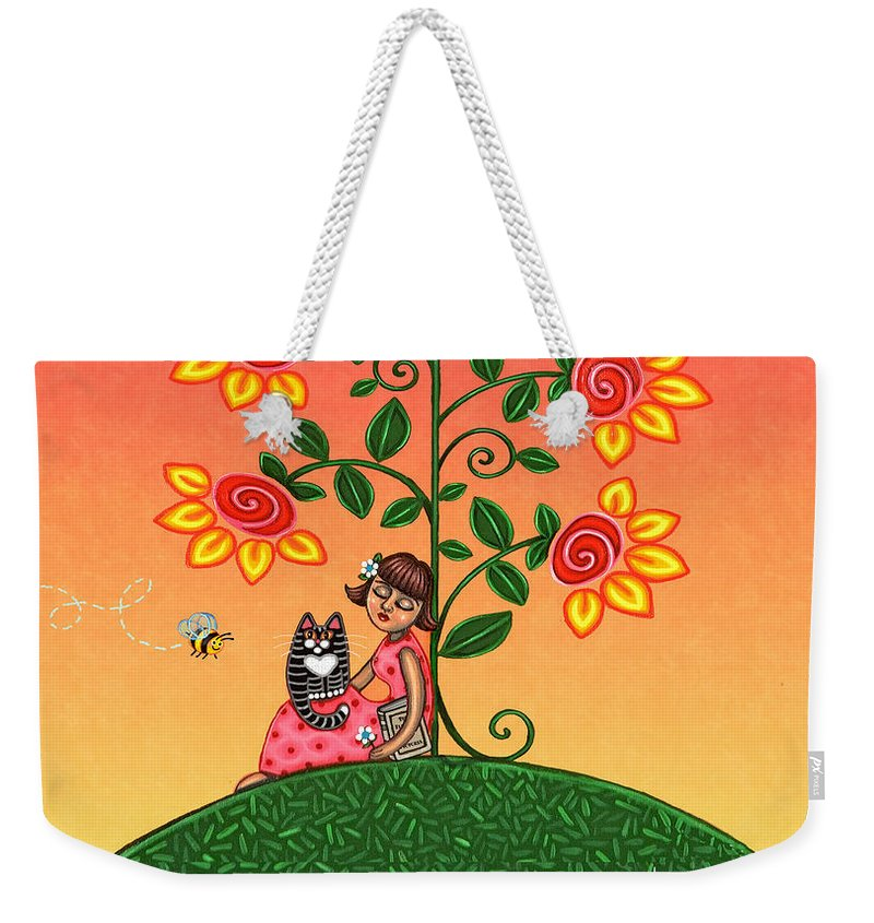 Folk Art Weekender Tote Bag featuring the painting She Is Life Barnes And Noble by Victoria De Almeida