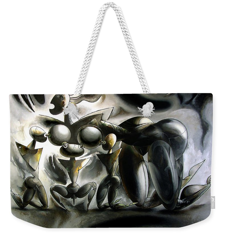 She Weekender Tote Bag featuring the painting She Wolf by Nikolai Bartossik