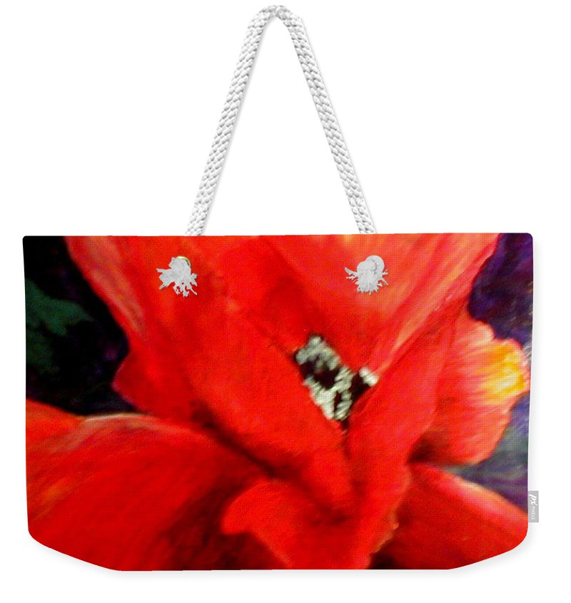 Floral Weekender Tote Bag featuring the painting She Wore Red Ruffles by Gail Kirtz