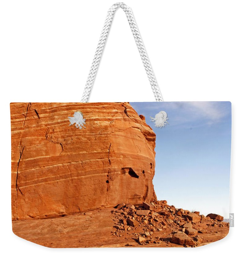 Nevada Weekender Tote Bag featuring the photograph Shear Lined Cliff by Jennifer Robin
