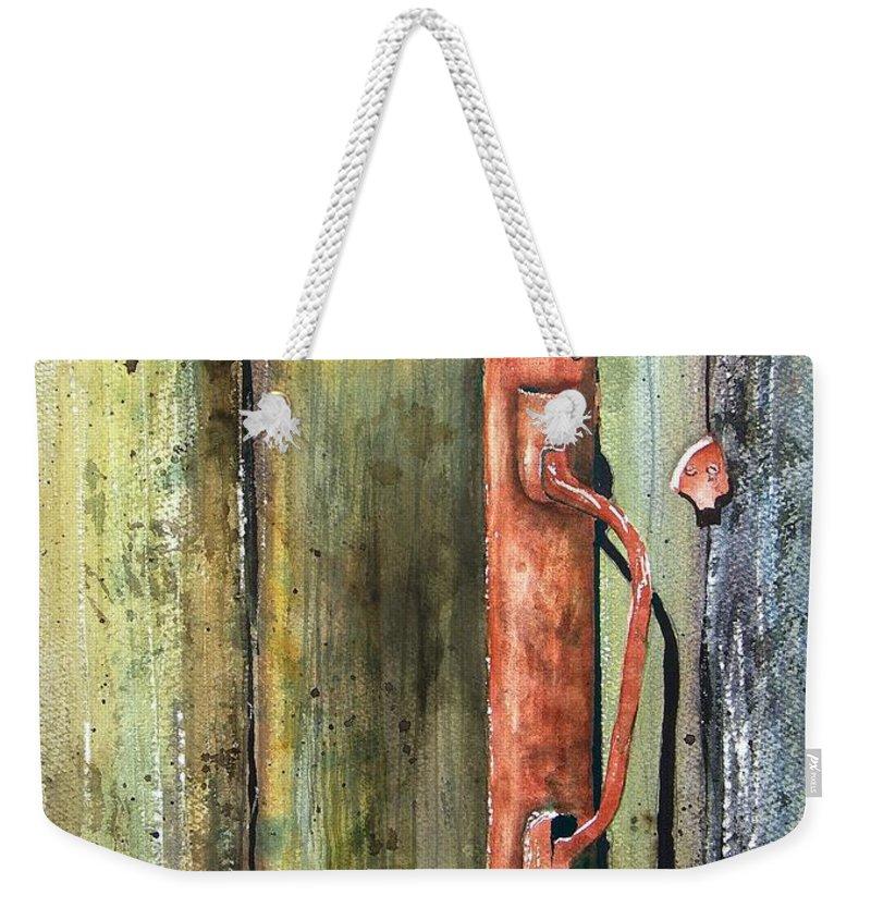 Rustic Weekender Tote Bag featuring the painting Shed Door by Sam Sidders