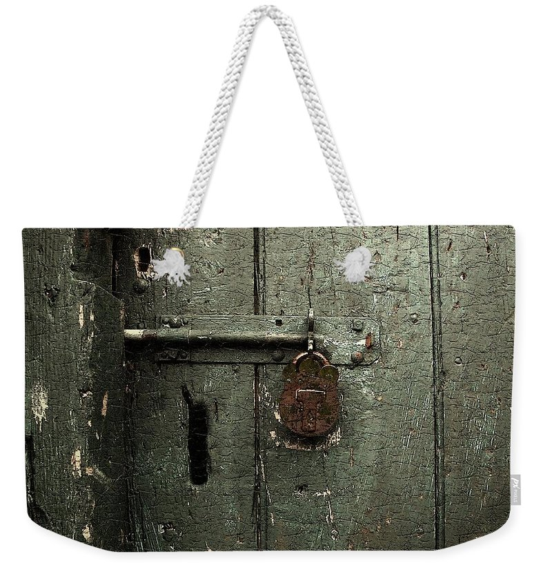 Door Weekender Tote Bag featuring the painting Shed Of Secrets by RC DeWinter