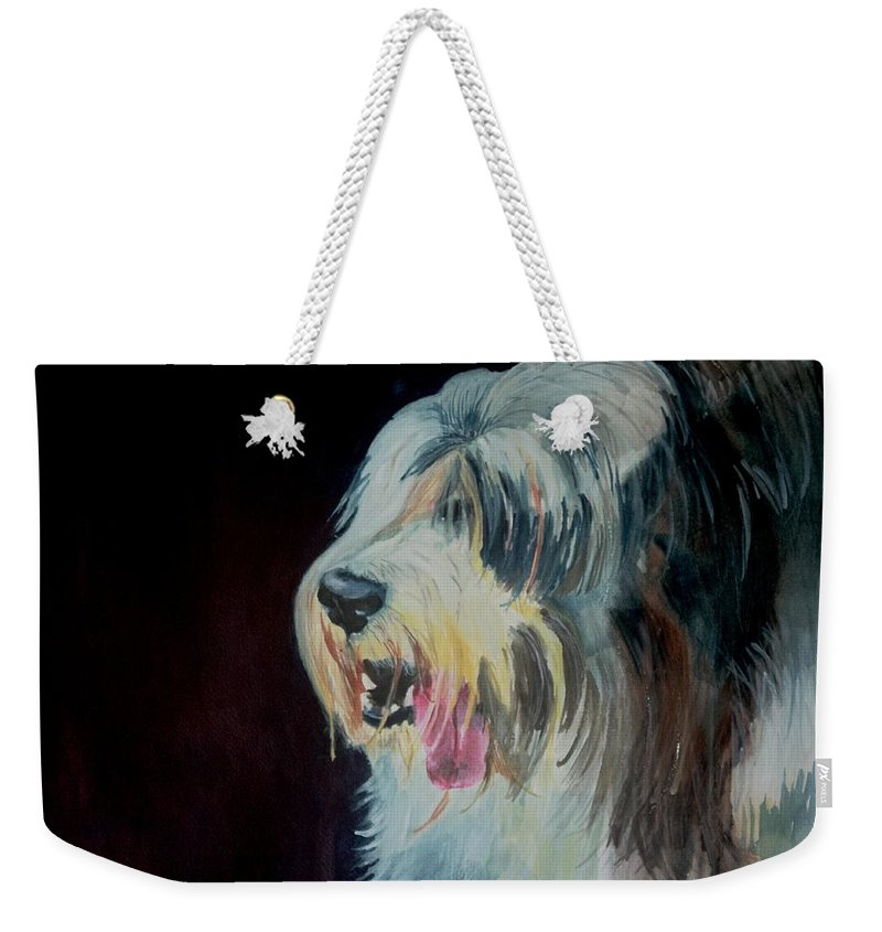 Art Weekender Tote Bag featuring the painting Sheep Dog by Kathleen Hartman