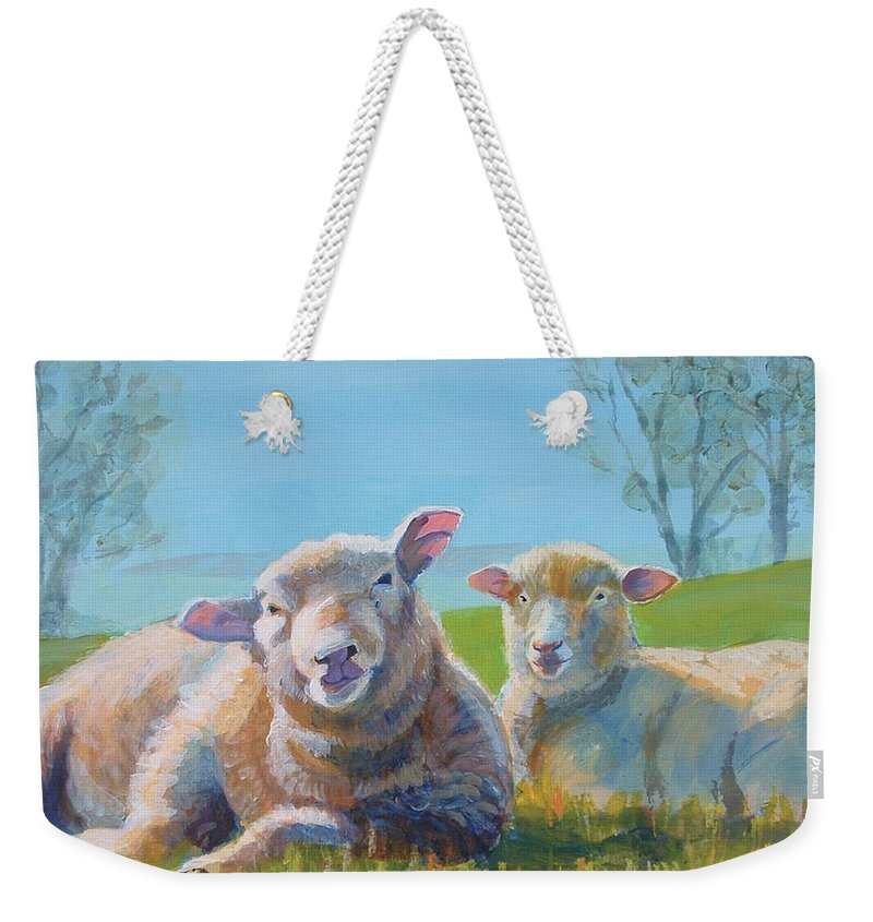 Sheep Weekender Tote Bag featuring the painting Sheep Lying Down by Mike Jory