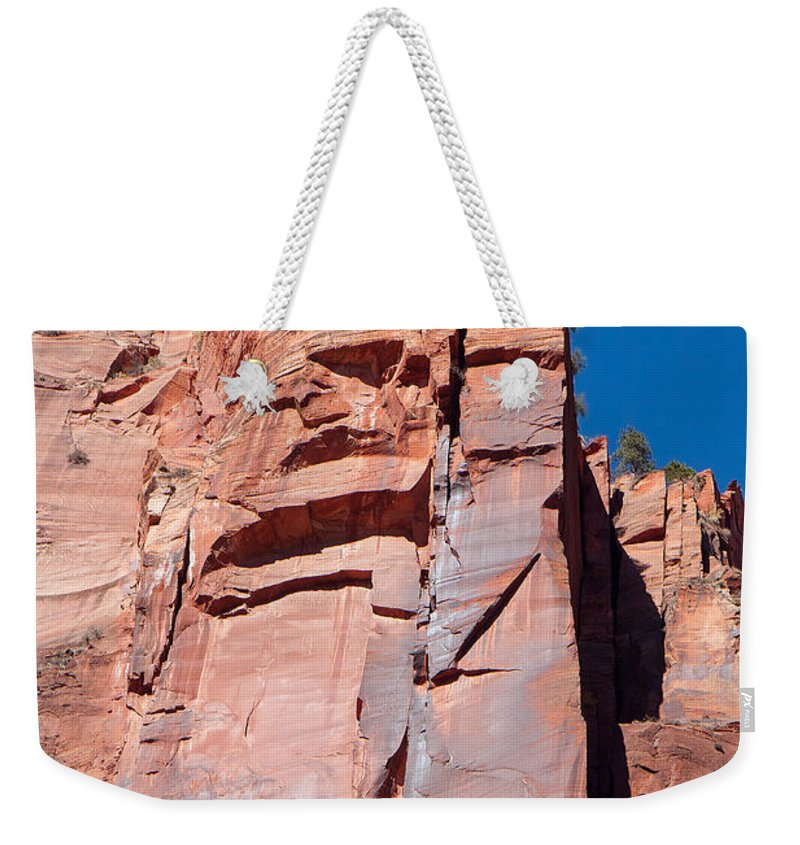 Landscape Weekender Tote Bag featuring the photograph Sheer Canyon Walls by John M Bailey