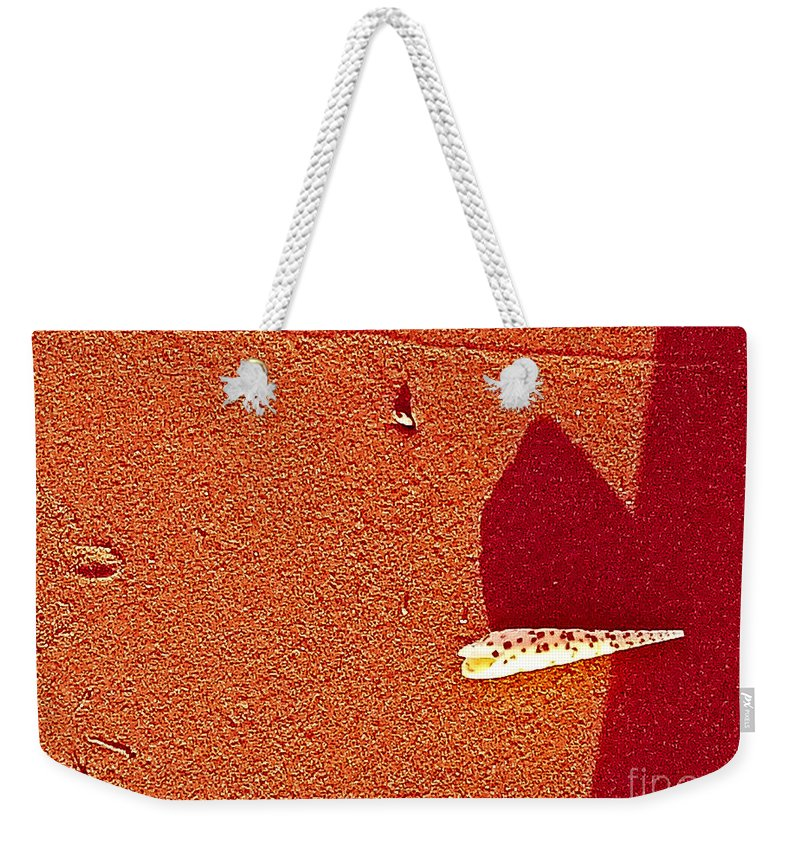 Abstract Weekender Tote Bag featuring the photograph Shell And Sand Reddish Version by Fei A