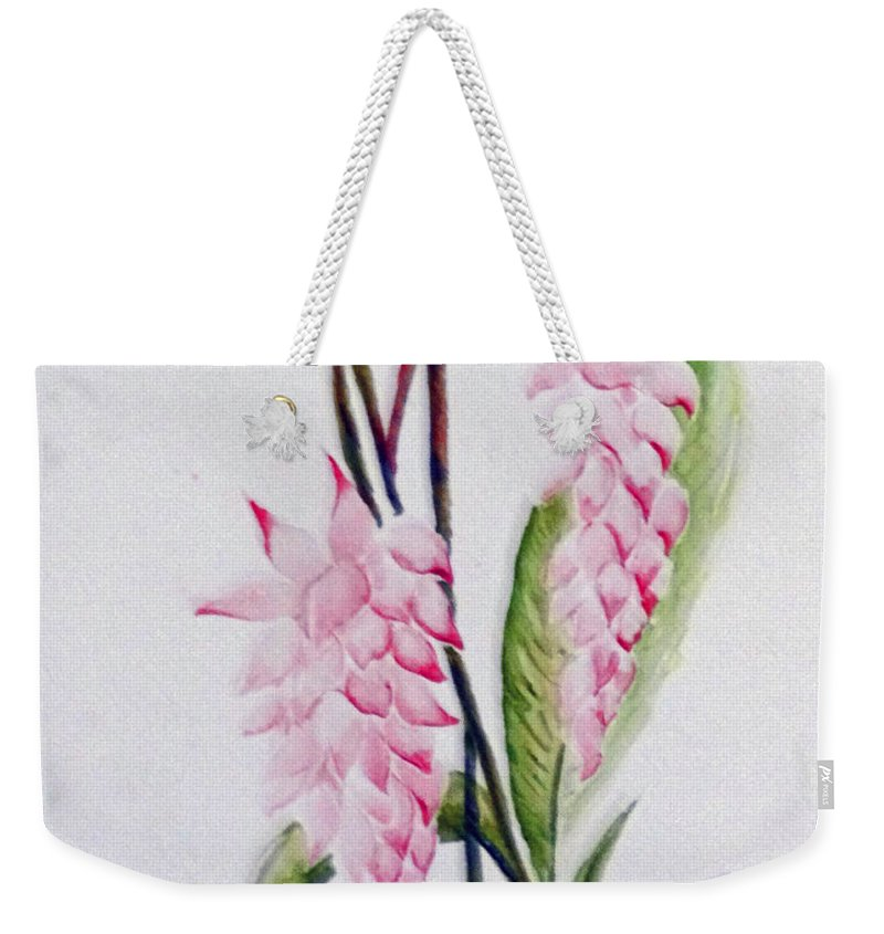 Tropical Ginger Weekender Tote Bag featuring the painting Shell Ginger by Karin Dawn Kelshall- Best