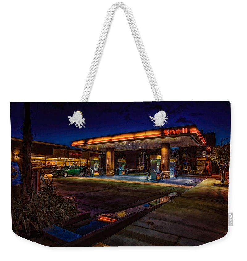 Shell Weekender Tote Bag featuring the photograph Shell Station by Chris Lord