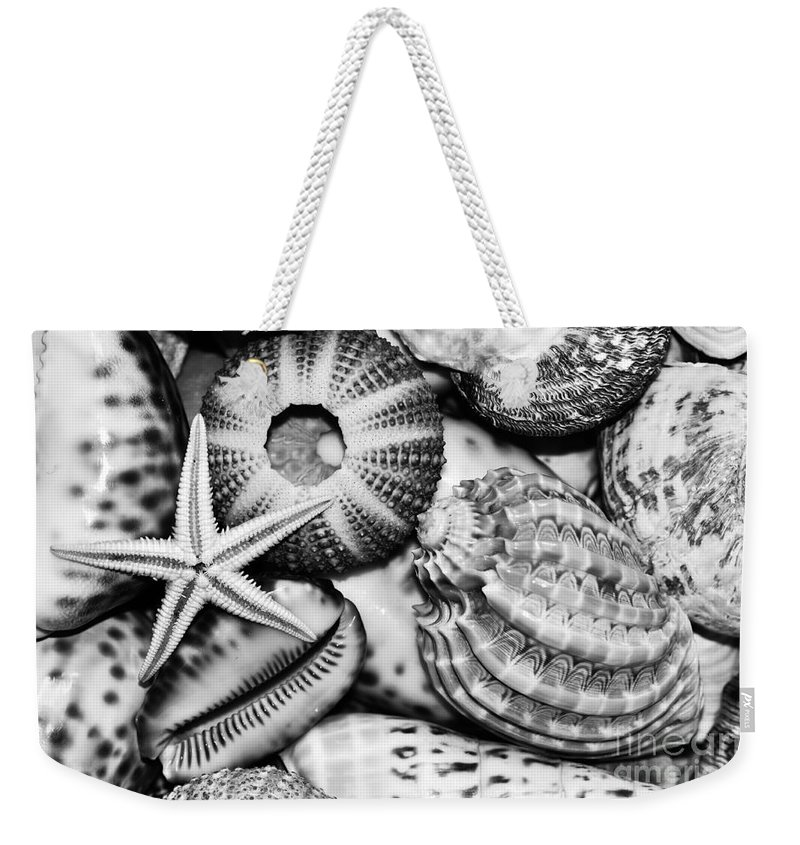 Photography Weekender Tote Bag featuring the photograph Shellscape In Monochrome by Kaye Menner