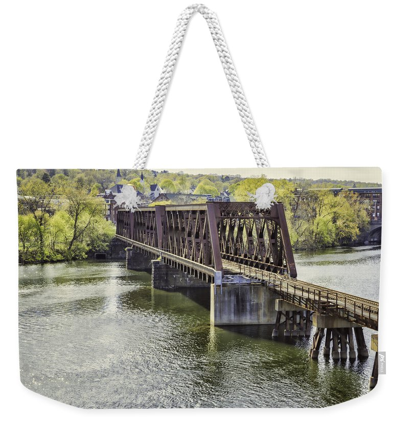 Bridge Weekender Tote Bag featuring the photograph Shelton Derby Railroad Bridge by Fran Gallogly