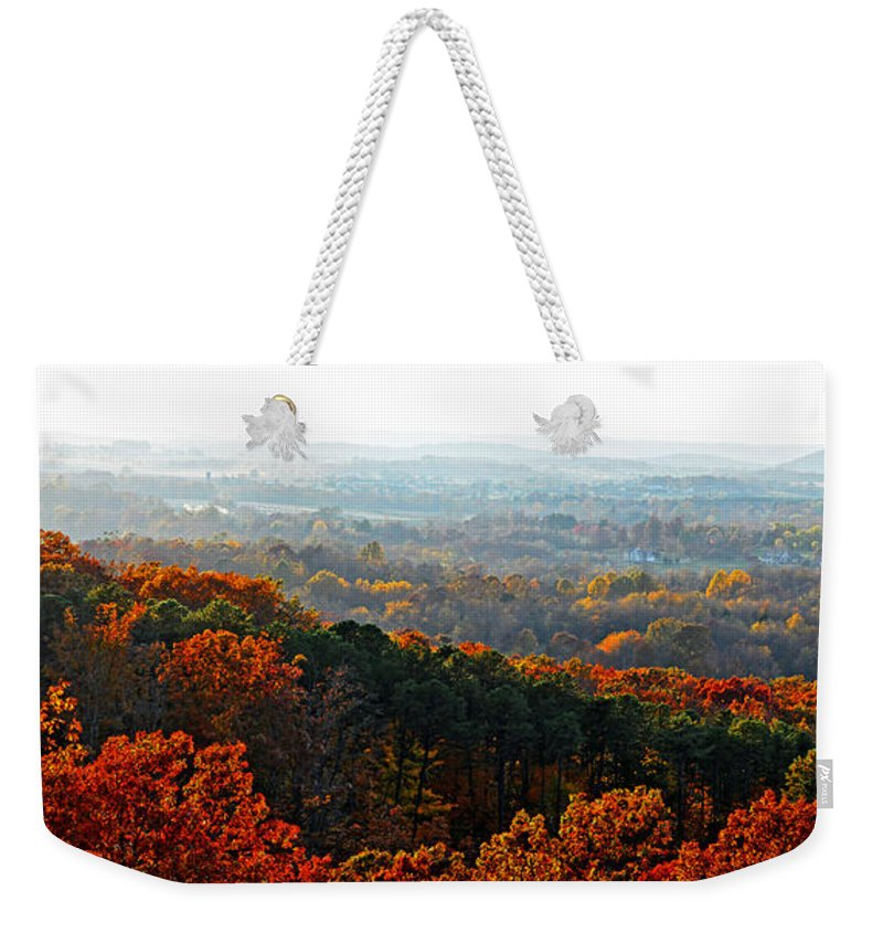 Fall Weekender Tote Bag featuring the photograph Shenandoah Valley Fall Panorama by Lynn Bauer