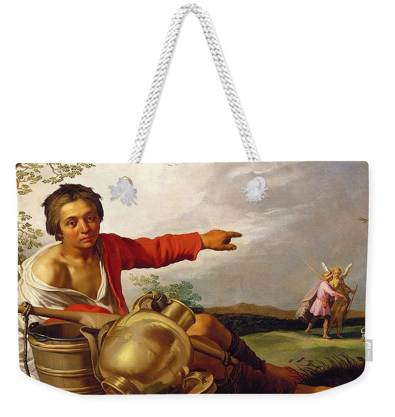 Pointing Weekender Tote Bag featuring the painting Shepherd Boy Pointing At Tobias And The Angel by Abraham Bloemaert