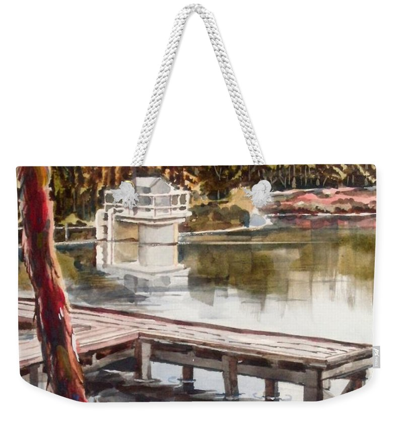 Shepherd Mountain Lake In Twilight Weekender Tote Bag featuring the painting Shepherd Mountain Lake In Twilight by Kip DeVore
