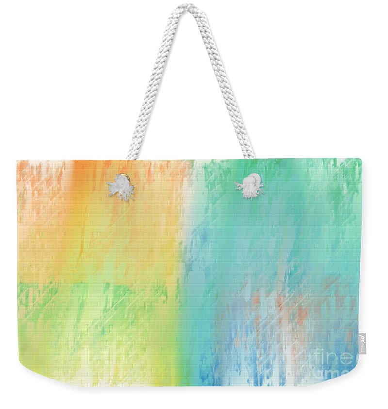 Abstract Weekender Tote Bag featuring the digital art Sherbet Abstract by Andee Design